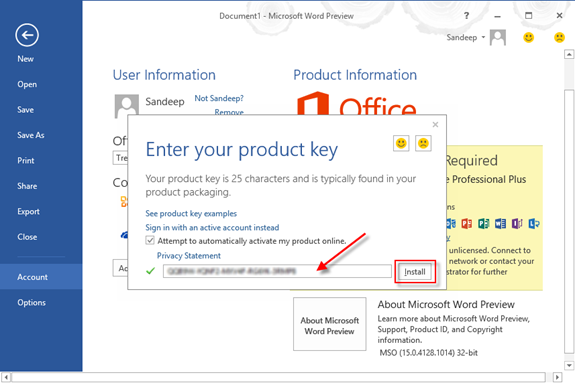 how to find product key for excel 2016